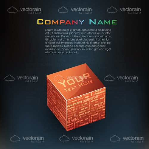 Tridimensional Cube with Business Theme and Sample Text
