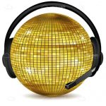 Gold Disco Ball with Black Headset On