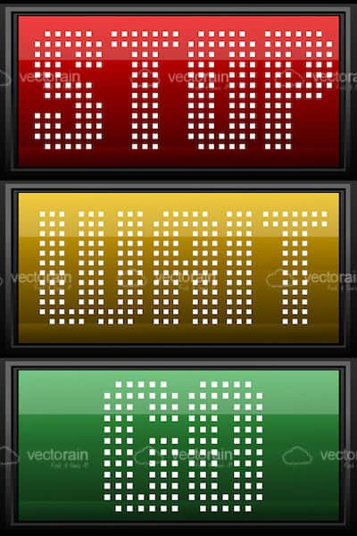 Traffic Lights Design with Stop Wait Go Text