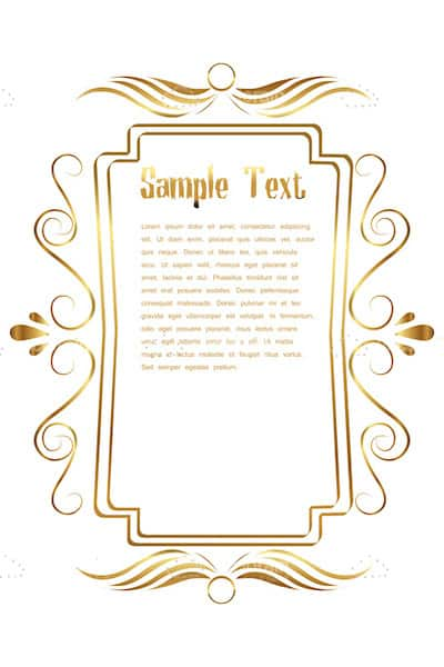 Golden Floral Frame with Sample Text
