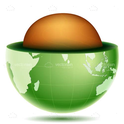 Green Earth with Golden Core