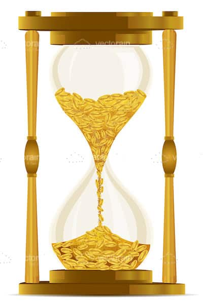 Vintage Hourglass with Golden Frame