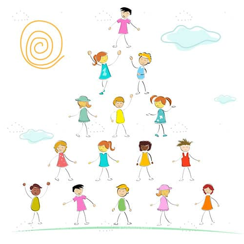 Illustrated Children Making a Pyramid
