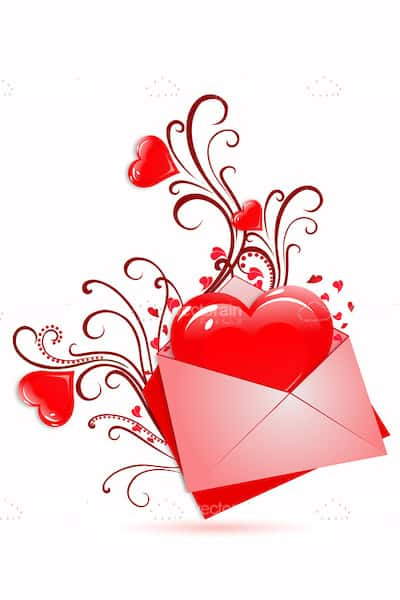 Red Heart in Pink Envelope with Floral Ornaments