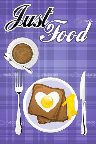 Plate with Toasts and Heart Shaped Egg, Coffee Cup and Cutlery on Tartan Pattern with Text