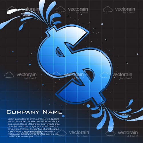 Squirting Blue Dollar Symbol with Sample Text