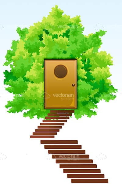 Abstract Illustrated Tree Home with Stairs