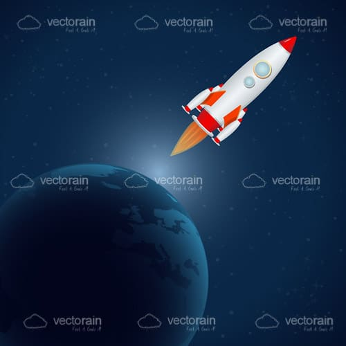 Illustrated Rocket in Space with Earth Globe