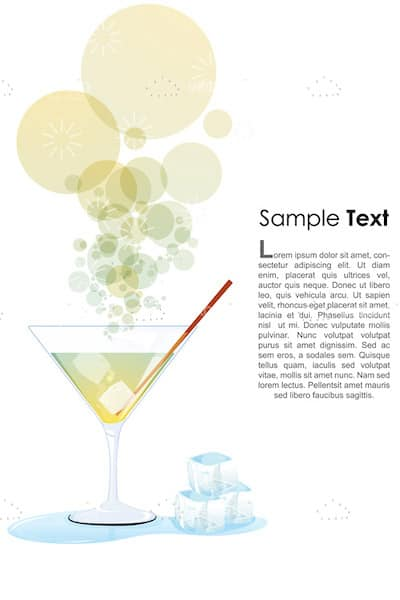 Cocktail with Ice Cubes, Bubbles and Sample Text