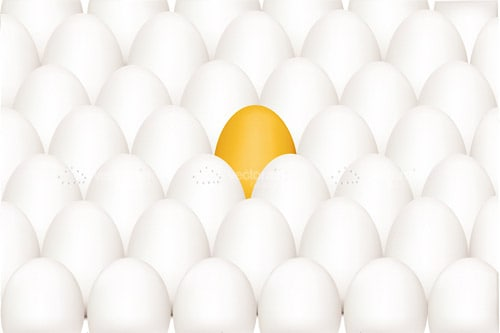 Yellow Egg Surrounded by White Eggs Background