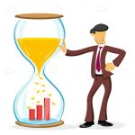 Abstract Businessman Next to Hourglass with Growth Bars
