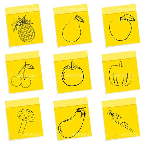 sketched fruit and veg on sticky notes 9 pack vectorjunky free