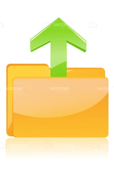 Abstract Folder with Arrow Upwards Icon