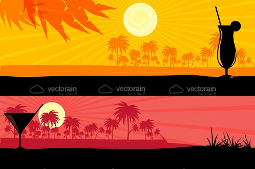 Tropical Beach Daytime and Nighttime Background