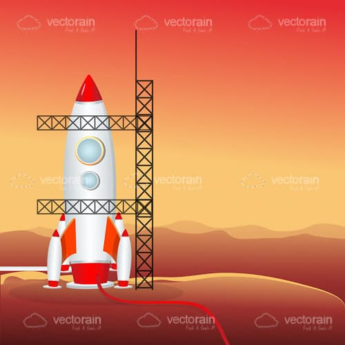 Illustrated Rocket on Mars Preparing for Launch