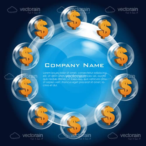 Blue Company Logo with Dollar Icons and Sample Text