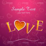Gold Love Text on Pink Hearted Background with Sample Text