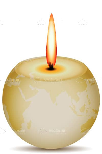 Abstract Earth Shaped Candle