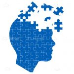 Blue Jigsaw Silhouette Head