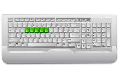 Computer Keyboard Design with ERTYU in Green