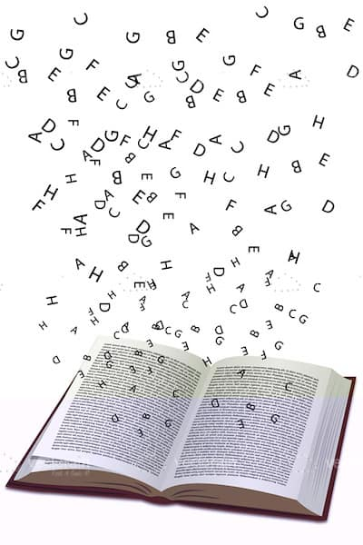 Open Book with Floating Letters