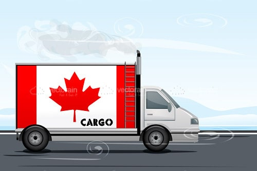 Lorry or Truck with Canadian Flag