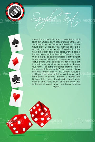 Gambling Background with Casino Chip, Card Suits, Dices and Sample Text