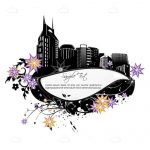 Intricate Skyline and Floral Card with Sample Text