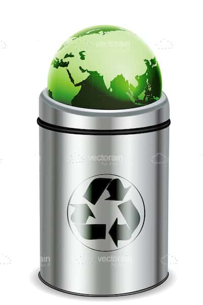 Metal Recycle Bin with Green Globe