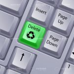 Green Delete Button with Recycling Symbol