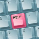 Pink Coloured Help Key on a Keyboard