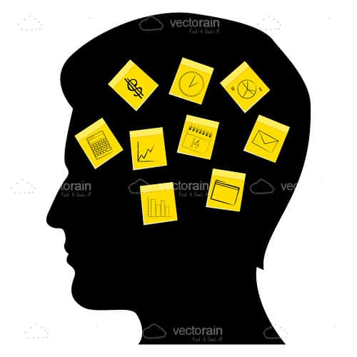 silhouette male head filled with sticky notes vectorjunky free