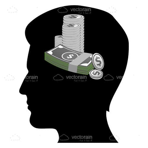Silhouette of Man's Head with Notes and Coins