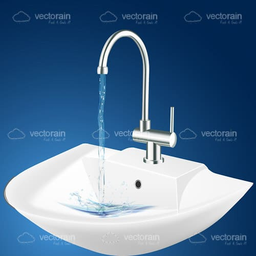 Bathroom Sink with Faucet Running Water