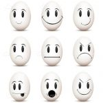 Black and White Egg Shaped Emoticons 9 Pack