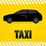 Black Car on Yellow Background with Taxi in Bold Black Lettering