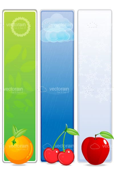 Bars with Weather Signs and Fruits