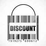 Abstract Bag with Discount Text and Barcode Pattern