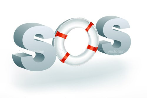 Sos Text with Life Buoy
