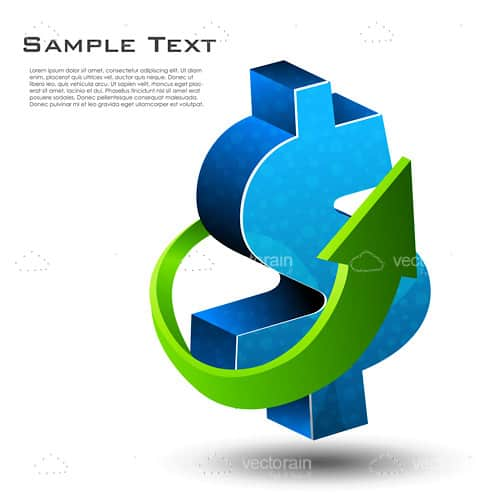 Dollar Sign with Surrounding Arrow and Sample Text