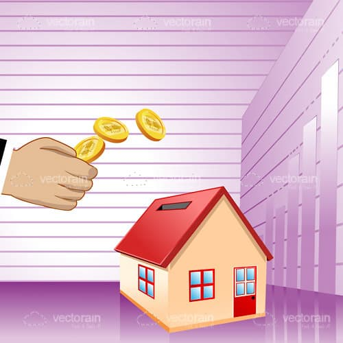 House shaped purple piggy bank with hand flicking coins for Business cards shaped like a house