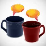 Blue and Red Coffee Mugs with Orange Dialogue Bubbles