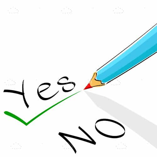 Yes and No Text with Pencil Remarking Yes