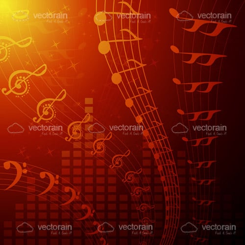 Pentagrams and Musical Notes Background
