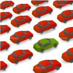 Green Car Surrounded by Red Cars Tiled Background