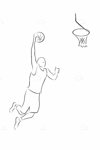 Basketball Player Dunking Ball in Sketch Style