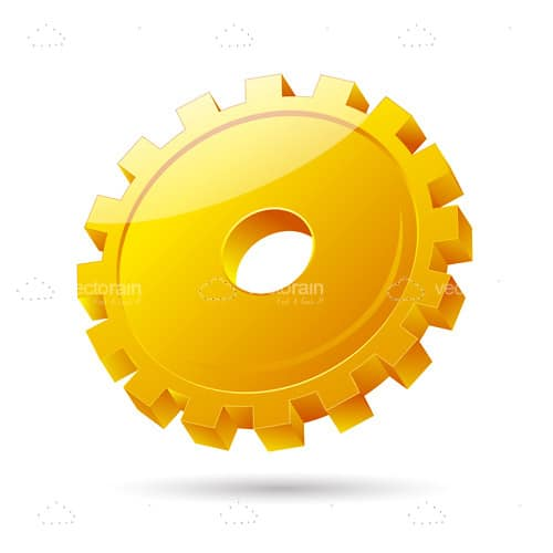 Yellow Gear with Glossy Effect Icon