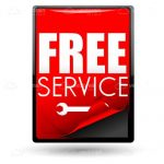 Red Free Service Sticker with Spanner Icon