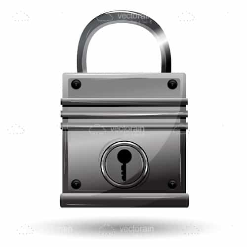 Metallic Grey Padlock