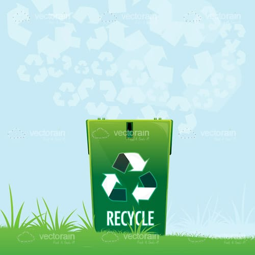 Green Recycle Bin in Outdoor Scene